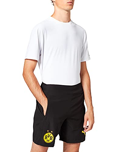 Puma Herren BVB Leisure Shorts 2 Side Pockets Zip with Innersl Black, L