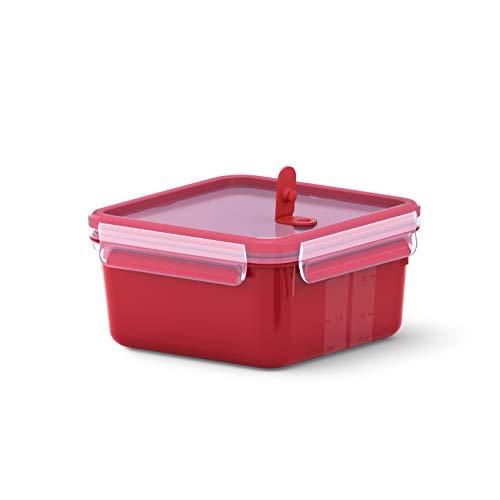 Emsa Mikrowellendose Clip & Micro N10604 | Mikrowellenventil | 1,3 L | Quadratisch | Lunchbox | Integrierte Maßeinteilung | Made In Germany | Rot/ Transparent