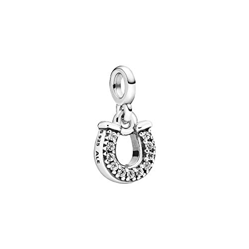 Horseshoe sterling silver dangle charm with clear cubic zirconia