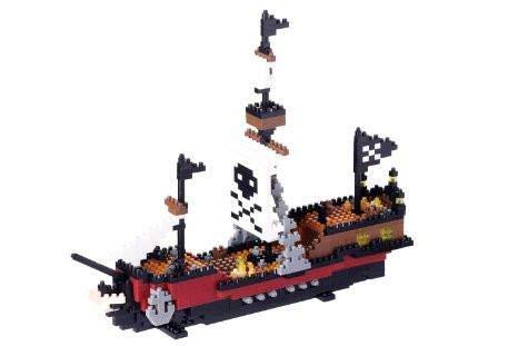 nanoblock NBM-011 - Pirate Ship / Piratenschiff, Minibaustein 3D-Puzzle, Middle Series, 780 Teile, Schwierigkeitsstufe 5, für Experten