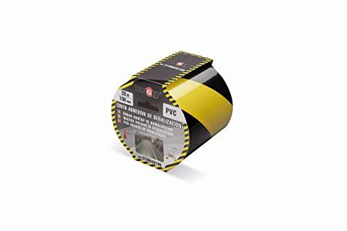 Cinta de señalización - TARGET - Adhesiva - Suelo - Advertencia - Señalización - Seguridad - Peligro - Marcar - Amarilla y negra 33m x 100mm - C13NA33100