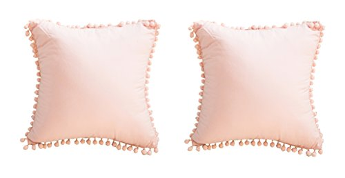Meaning4 European Throw Pillow Covers with Poms Shabby Pink 100% Cotton 26 x 26 Set of 2
