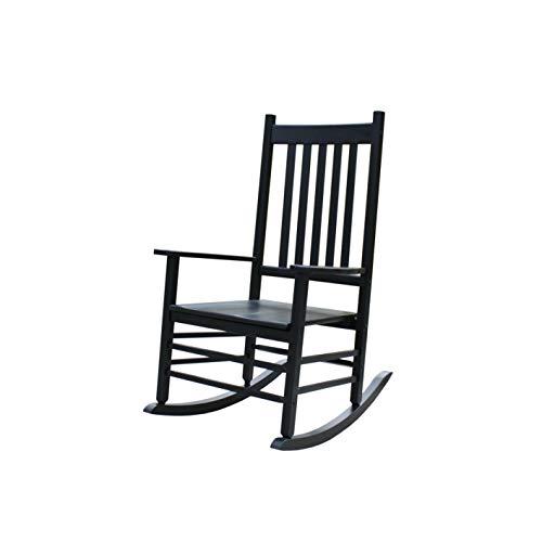 Rockingrocker-A001YBK Black Indoor Rocker/Rocking Chair -Easy to Assemble-Comfortable Wide Size-Outdoor or Indoor Use