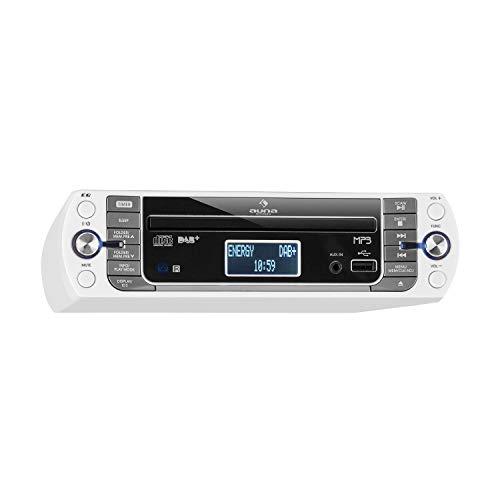 AUNA KR-400 CD - Radio da Cucina, Sottopensile, DAB+ PLL, FM, CD MP3, Bluetooth, AUX, USB, 40 Stazioni Memorizzabili, Sveglia, Telecomando, Bianco Ghiaccio