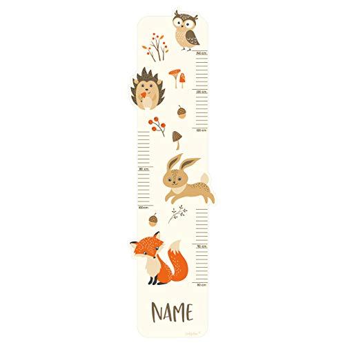 Striefchen® Messlatte für Kinder mit Namen als Wandtattoo mit niedlichen Waldtieren
