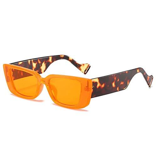 ZZOW Gafas De Sol Coloridas Rectangulares De Moda para Mujer, Gafas De Leopardo Verde Fluorescente Retro, Gafas De Sol De Tendencia para Hombre, Sombras Uv400