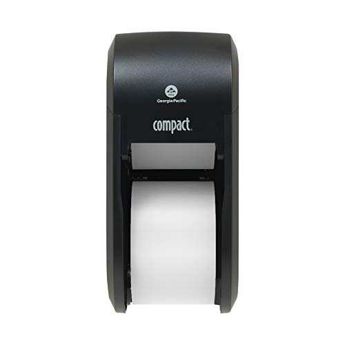 Compact 2-Roll Vertical Coreless High-Capacity Toilet Paper Dispenser by GP PRO (Georgia-Pacific), Black, 56790A, 1 Dispenser
