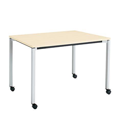 コクヨ ミーティングテーブル JUTO MT-JTK127S81M10-CN 角形天板 4本脚 角脚 スクエアコーナー 幅120×奥行75cm 天板ホワイトナチュラル/脚フラットシルバー キャスター付