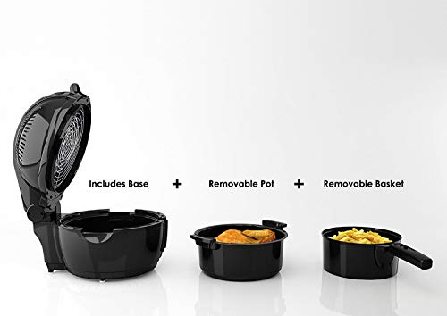Elite Platinum EAF-1506D Electric Digital Hot Air Fryer Oil-less Cooker, 6 in 1 Cooking Functions, Adjustable Time + Temperature, PFOA/PTFE Free, 1400-Watts with 26 Recipe Cookbook, 3.5 Quart, Black