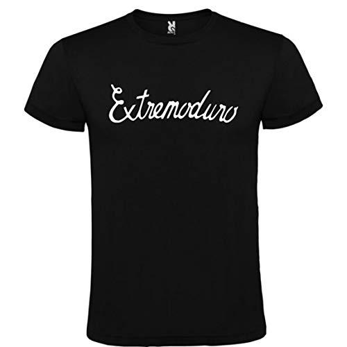 ROLY Camiseta Negra con Logotipo de EXTREMODURO Hombre 100% Algodón Tallas S M L XL XXL Mangas Cortas (M)