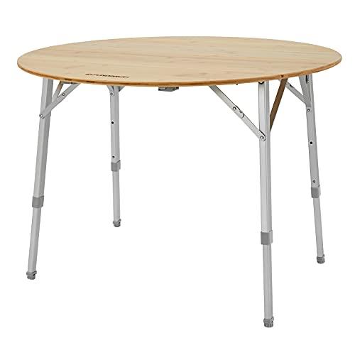FUNDANGO キャンプ テーブル アウトドアテーブル 折りたたみ バンブーテーブル 高さ調整3段階 90×45/52/65cm 竹 バーベキュー 丸テーブル