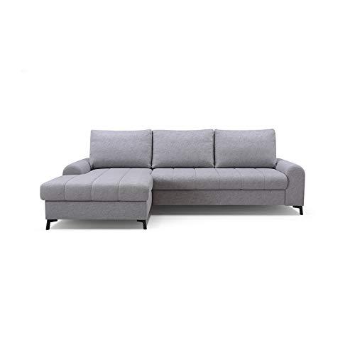 mb-moebel Ecksofa mit Schlaffunktion Eckcouch mit Bettkasten Sofa Couch L-Form Polsterecke Delice (Hellgrau, Ecksofa Links)