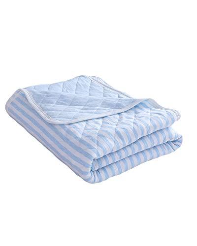 GuoCu Tagesdecke für den Sommer,Leicht Gestrickte Baumwolle Bettüberwurf Steppdecke Sommer Dünne Quilt Klimaanlage Quilt,Sofa-Überwurf Cozy Bettdecke Stepp Decke Doppelbett Blau-A 200 * 230CM