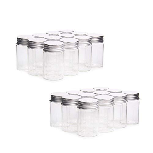HARVARD 24pcs Tarros de Vidrio,Mini Bote de Cristal Transparente con Tapa de Rosca Metálico Aluminio,Botellas Pequeños para Fiesta de Boda,Recuerdo de Bautizo y Comunión (22mm x 40mm, 7ml)