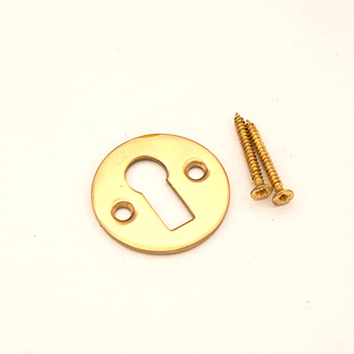 Victorian Standard Profile Open Key Hole Door Lock Plate Cover Escutcheon Lock Security Key Hole Cover in Various Finishes (Polished Brass)