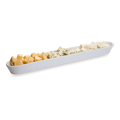 White Porcelain Olive Plate, Cheese Plate, Party Plate, Tray - 16 Inches Long - 14 oz - 1ct Box - Restaurantware