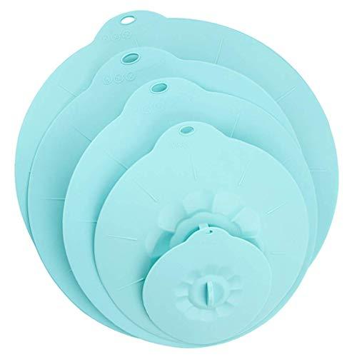 Tubayia Juego de 5 tapas de silicona resistentes al polvo, resistentes al calor, para horno, microondas (azul)