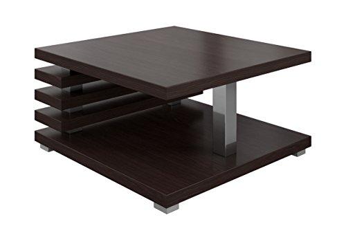 Oslo Tavolino da salotto da 60 cmx 60cm, in legno scuro di rovere, stile Wengè
