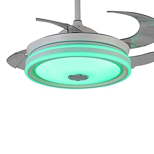 Ventilador de techo moderno de 42 pulgadas con luz, 7 colores Light Smart Bluetooth Music Player y Speed Remote Speed Speed ABS Blade invisible para la sala de estar Restaurante, Negro