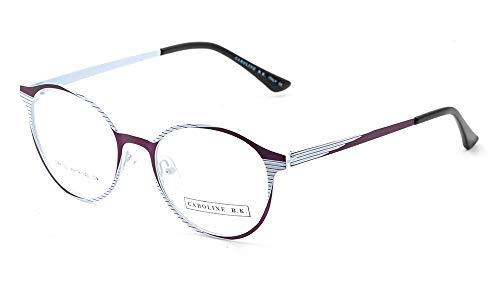 CAROLINE B.K. CBK152 montura de gafas sin graduar con lentes transparentes sin prescripción estilo CLÁSICO en METAL UNISEX (Morado/Blanco)