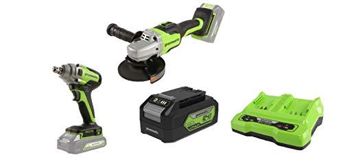 Greenworks Akku-Winkelschleifer GD24SAG + Akku-Schlagschrauber +Akku G24B4 2.Generation +Doppelsteckplatz-Akku-Universalladegerät G24X2C