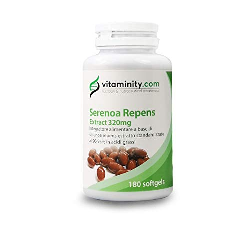 Vitaminity Serenoa Repens 320 mg - 90-95% - Integratore Saw Palametto Prostata e Caduta Capelli - 180 Softgels