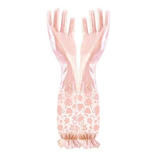 RYY Geschirrspülhandschuhe lang , wasserdichte Küchenreinigungshandschuhe zum Abwasch Waschen Reinigung Cleaning mit warmem Futter P7Y (Color : Pink, Size : Thin Section S)