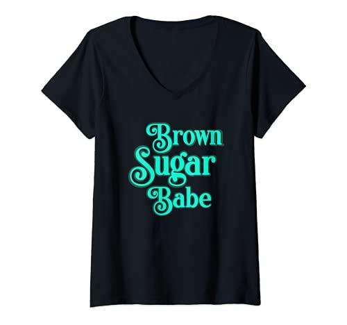 Mujer Afroamericano Negro Melanin Piel Marrón Azúcar Nena Camiseta Cuello V