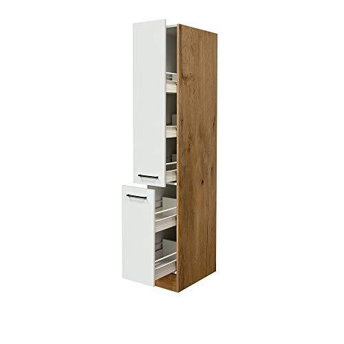 MMR Küchen-Apothekerschrank GLASGOW - Hochschrank - 2 Front-Auszüge, 5 Körbe - Creme Matt