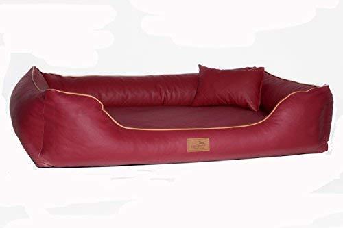 tierlando® Orthopädisches Hundebett Louis | Gestepptes Kunstleder KARO | Anti-Haar (LS3 | 80 cm, 04 | Bordeaux Rot)
