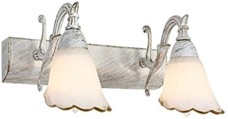 JBP Max Spiegel Licht Bad Light Idyllische Retro Schmiedeeiserne Wand Lampe Badezimmerspiegel Scheinwerfer Dressing Tischlampe,Weiß,Doublehead
