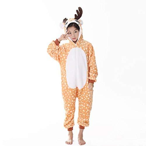 Unisex-Schlafanzug Erwachsene Tier-Onesies Einteiliger Schlafanzug für Kinder Flanell Reh Eltern-Kind-Schlafanzug Bademantel Hauskleidung, Golden_flower, Kitz, 130#