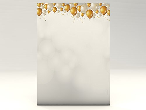 Verjaardag jubileum felicitatie motiefpapier nobele ballonnen, 100 vellen motiefpapier DIN A4, 90 g/m2