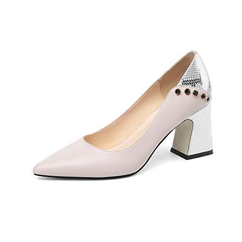 TinaCus Sapato feminino de couro legítimo, feito à mão, gracioso, bico fino, salto grosso, elegante, rebites sem cadarço, Cores sortidas, 8