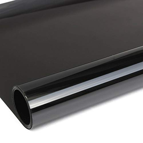 Car Window Tint Film Noche Negra, lámina de espejo, Car Window Sun Visor Strip Tint Film Black Windshield, 76cm * 7M, antideslumbrante, protección UV, protección DIY