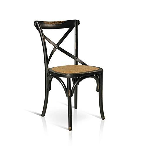 Milani Home s.r.l.s. Sedia Moderna di Design in Legno Nero con Seduta in Paglia per ARREDO CASA Cucina Sala da Pranzo Studio Ristorante BISTROT