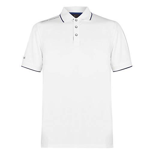 Oscar Jacobson Hombre Camiseta Deportiva Polo Manga Corta Blanco/Azul Marino S