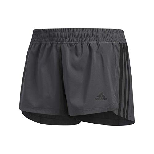 adidas Women's Pacer 3-Stripes Woven Shorts, Grey/Black, Small