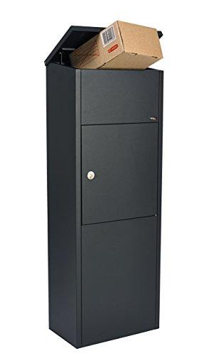 Allux 600 + Ruko Schloss F54602 Briefkasten groß XXL | Wasserdichte Abschließbare Sichere Paketkasten | 1050 x 380 x 230 mm | Schwarz und Ruko Schloss