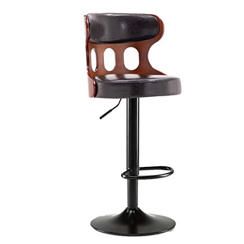 Decorative stool Massivholz Rückenlehne Stuhl, Industrie Stil mit Kunstleder-Polsterung Kaffeemaschine Sessel Home Use Restaurant Zähler Sessellift (Color : C, Size : 56-76CM)