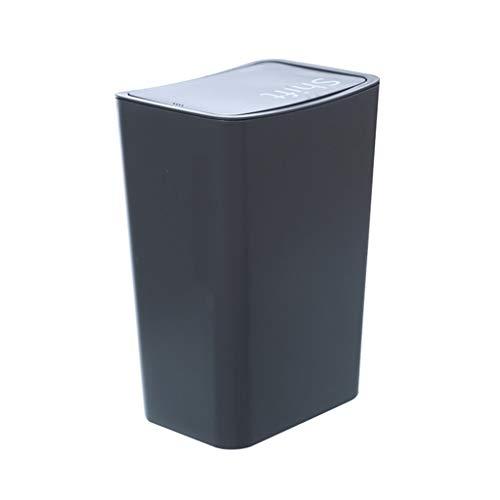 Bote de Basura Tapa Bote de Basura Rectangular Dormitorio Cocina Baño Creativo Cesta de Papel Bote de Basura Humano Simple (Color : Black, Size : 12L)