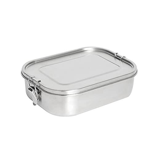 Cozy69 Merysen - Fiambrera Bento de acero inoxidable, 1400 ml, con 3 compartimentos y sello de silicona, recipiente de almacenamiento para ensaladas de alimentos (plata)