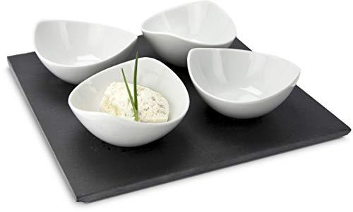 ROMINOX Geschenkartikel Servierschalen // Quattro Ardesia – 4-teilig, 4 schwungvolle Schalen und 1 Schieferplatte, zum Servieren von Dips, Saucen oder Marmeladen; Maße: ca. 25 x 25 x 6 cm