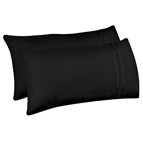 Lirex 2-Pack Fundas de Almohada, Tamaño 50 cm x 101 cm Fundas de Almohada de Microfibra Suave Cepillada, Transpirables sin Arrugas y Lavables a Máquina (Negro, King)