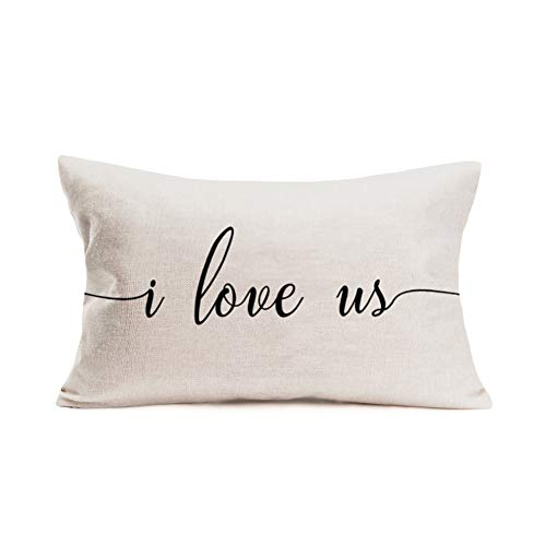 Aremetop Valentines Day Pillow Covers 12x20 Inch Home Decor I Love Us Sweet Quotes Decor Mothers Day Fathers Day Anniversary Throw Pillows Decorative Cushion Cases Valentine Decorations for Sofa