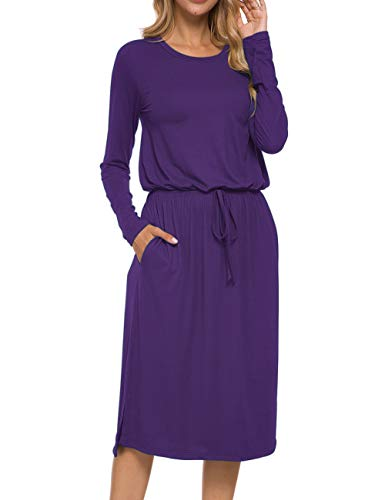 MISFAY Women's Long Sleeve Side Split Tie-Belt Work Casual Elastic Waist Midi Dress with Pockets