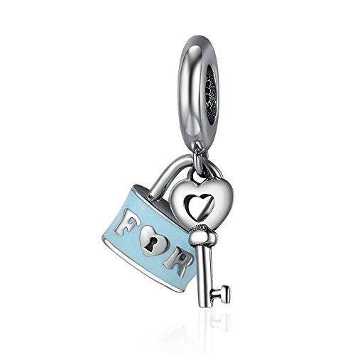 Forever Love - Abalorio de plata de ley 925 con cerradura azul y llave, para pulseras o collares similares