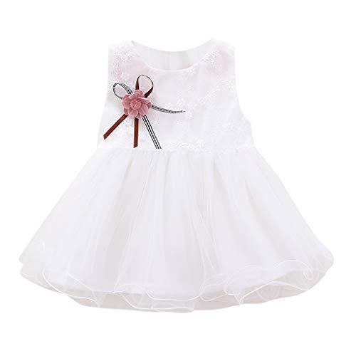 Julhold Robe de princesse en tulle sans manches pour bébé fille Robe de princesse 0-2 ans - Blanc - 42 EU