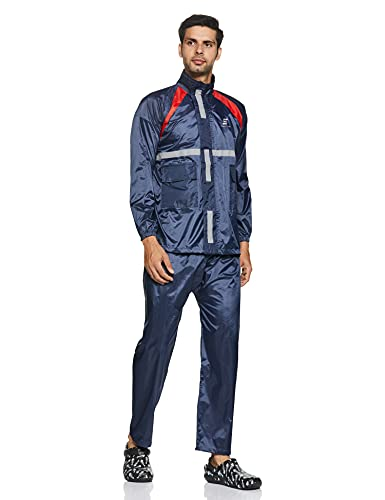 Amazon Brand – Symactive Water Resistant Polyester Rain Coat with Pant, Blue, Small