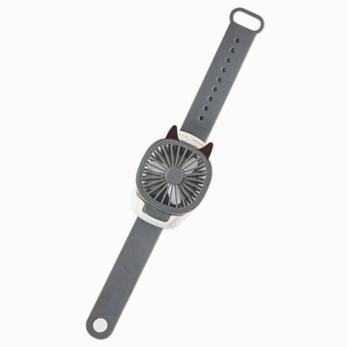 DOBRE Ventilatore portatile per orologio, ricaricabile tramite USB, con comodo cinturino da polso, mini ventilatore a vento e condizionatore d'aria integrato con luce di ricarica LED (grigio)